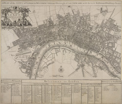 PLAN of the CITY'S of LONDON, WESTMINSTER and Borough of SOUTHWARK; with the new Additional Buildings; Anno 1720